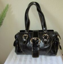 FRANCESCO BIASIA Black Leather & Patent Satchel Shoulder Bag