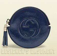 GUCCI blue Patent Leather SOHO Interlocking G zip pouch COIN Purse NIB Authentic