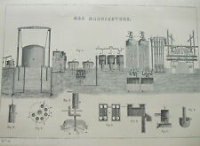 ANTIQUE PRINT C1880'S GAS MANUFACTURE ILLUSTRATED DIAGRAM INDUSTRY INDUSTRIAL