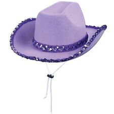 Western Party Sequined Cowgirl Purple Hat Women's Hat Chin Strap Country Theme