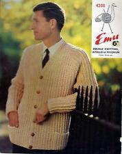 "Knitting Pattern Emu 4208 Man's Jacket DK or Chunky 34-42"" 1960s"
