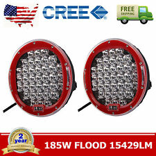 2X 185W Round 9'' Inch LED Cree Driving Flood Light Lamp ARB Replace OffRoad RED