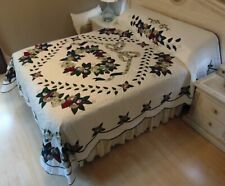 NEW! AMISH HANDMADE QUILT! ~ Country Love ~ Applique ~ 96 x 115