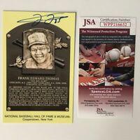 Autographed/Signed FRANK THOMAS HOF Hall Of Fame Plaque Postcard JSA COA Auto