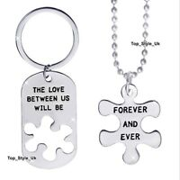 XMAS GIFTS FOR HER & HIM - Matching Silver Necklace & Keyring Set Men & Women E9