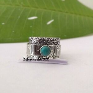 Turquoise Spinner Ring 925 Sterling Silver Plated Handmade Ring Size 7 vi301