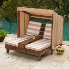 Chaise Lounge for Kids Double Seats Canopy Childrens Outdoor Furniture Chairs