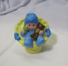 Rare! BABY BOY in BLUE with TEDDY BEAR for Happy Home Fisher Price Little People