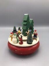VTG German Style Christmas Wood Moving Music Box 'We Wish You a Merry Christmas'
