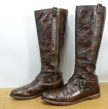Cole Haan Womens Sz 6.5 Equestrian Riding Side Zip Belted Brown Boots