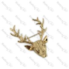 BIG STAG BROOCH vintage style GOLD PLATED elk ANTLERS animal RETRO pin DEER