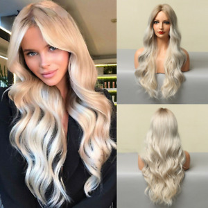 Ombre Light Platinum Blonde Wigs for Women Long Natural Wavy Cosplay Party Wig