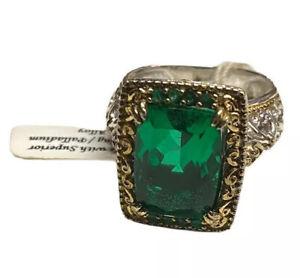 NWT Gems En Vogue  Czarina Fancy Cut Green Quartz & Emerald Ring Size 7.5