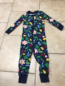 Hanna Andersson Navy Blue Floral Organic Long Pajamas, Size 80 (18-24 Month)