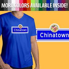 City of Los Angeles Chinatown China La Dtla Tourist Sign Mens Tee V-Neck T-Shirt