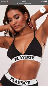 playboy x missguided black playboy taped triangle bra. Size Uk 12