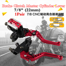 Pair Motorcycle 7/8'' Red Aluminum Hydraulic Brake Clutch Lever Master Cylinder