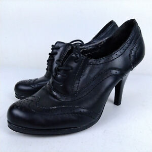 Nicole Steinman Black Leather Wing Tip Oxford Lace-Up High Heels Sz 8.5 M