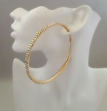 Brand New Extra Large 9cm Gold Multicolour Diamante Crystal Hoop Earrings 2 rows