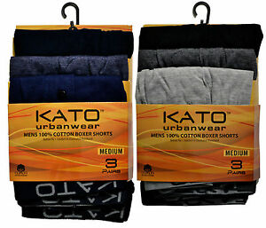 KATO URBANWEAR 2 PACK 6 PAIRS MENS BOXER SHORTS 100% COTTON BUTTON FLY S M L XL