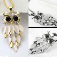 Fashion Owl Pendant Sweater Women Long Necklace Chain Crystal Rhinestone Gift