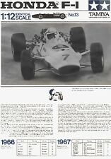 Restored Instruction Manual for Vintage Tamiya 1/12 Honda Ra273 F1 Model Car Kit