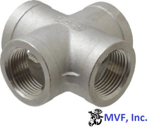 "1/2"" 150 Threaded (Female NPT) Cross 304 Stainless Steel, 4-Way <SS070441304"