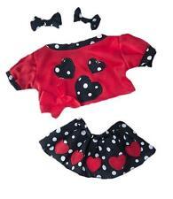 """8"""" Rojo y Negro Falda De Fiesta, Top, arcos de peluche ropa encaja 8"""" -10"""" (20cm) osos de peluche"""