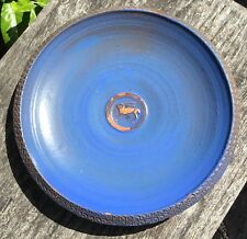 Old Vintage Studio Pottery Blue Charger Plate Stylised Animal Decoration DR Mark