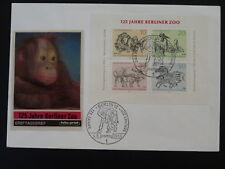 monkey orang-utan Berlin zoo souvenir sheet FDC 1969 Germany 82224
