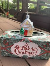 Old World Christmas Vintage Glass Ornament White House With Snow And Trees