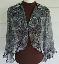 Dressbarn Size Medium Shrug Sheer Paisley Black White Long Sleeve Cropped