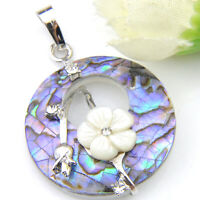 Rainbow Handmade Abalone Shell Flower Carved Shell Gems Silver Necklace Pendant