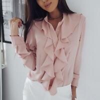 Women Ladies Ruffle V Neck Blouse Casual Shirt Tops Fashion Long Sleeve Tops Q