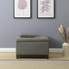 Elegant Spacious Gray Fabric Storage Ottoman Coffee Table With Tufted Top NEW