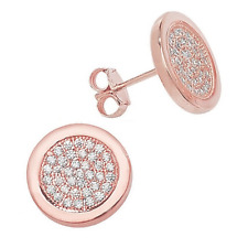Rose Gold over Sterling Silver Pave Cubic Zirconia Large Button Stud Earrings