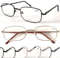L18 Classic Simple Metal Reading Glasses/Spring Hinges/Long Arm Cover Spectacles