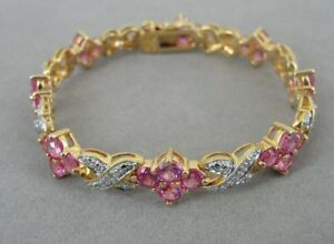 Bright Pink Stones Gold Vermeil over Sterling Silver Link BRACELET