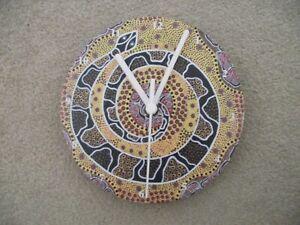 """ABORIGINAL ART """"SNAKE""""  7"""" wall clock upcycled"""