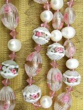 Antique Art Deco Venetian Latticino Wedding Cake Beads Glass Necklace