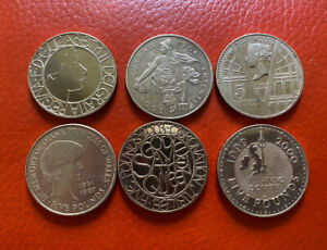 GB 6 Various 5 Pounds Coins Very High Grade