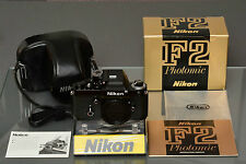 nikon f2 photomic, dp-1 red dot, mint-/mint, boxed, manual, brand new seals, top