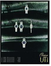 PUBLICITE  1969   UTI   créations  montres or blanc &  platine