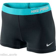 "NEW! Black/Teal [XS] NIKE PRO Compression 2.5"" Women DRI-FIT Shorts X-Small"