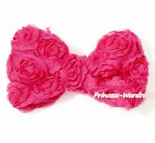Hot Pink Floral Romantic Rose Kid Girl Hair Pin Clip Bow For headband Pettiskirt