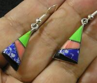 Gemstone Shell Inlaid Silver Plated Earrings Onyx Sodalite Spiny Oyster