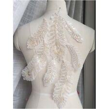 2Pcs Ivory Gold Leaf Sequins Lace Applique Wedding Dress Lace Fabric Applique