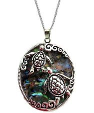 """Large Sea Turtle Abalone Shell Pendant Necklace with 24"""" Stainless Steel Chain"""