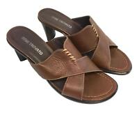 Bene Trovato Womens Ladies Brown Leather Slip On Sandals Heels Shoes Size 8M