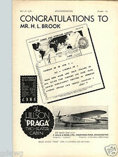 1936 PAPER AD Airplane The Hillson Praga Two Seater Cabin 40 HP Manchester